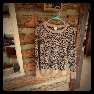 Leopard Print Crew Neck Sweater